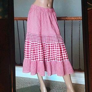 🇬🇧💗🌼JW Anderson Gingham Plaid Check Midi Skirt